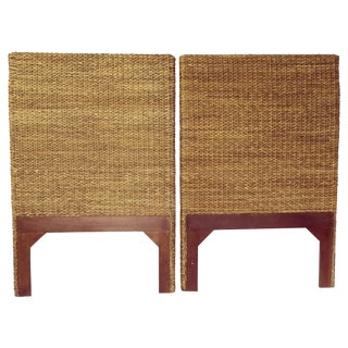 Woven Rattan and Teak Headboards - Pair