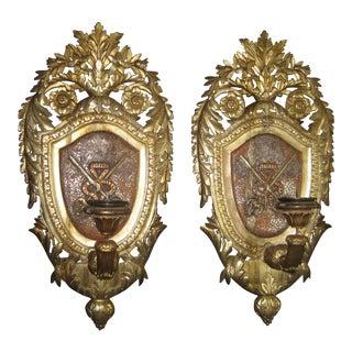 Giltwood Shield Sconces - A Pair