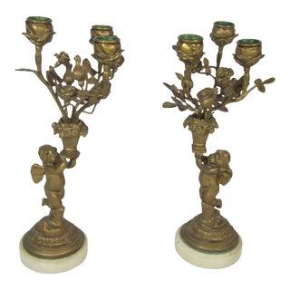 Bronze Cherub Candelabras - A Pair