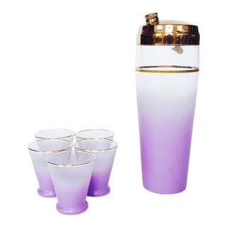 Vintage Lavender Blendo Glass Cocktail Shaker Set