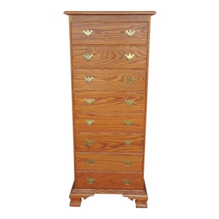 Tom Seely Solid Oak Chippendale Style Lingerie Tall Chest