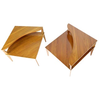 Pair of Mid-Century Modern Step End Corner Tables by John Stuart