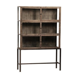 Oak & Iron Glass Door Cabinet