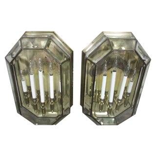 4-Arm Enclosed Brass & Glass Sconces - A Pair
