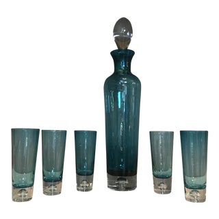 Vintage Blue Decanter & Glasses - Set of 6