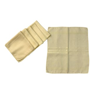 Mid-Century Modern Yellow Linen Napkins - Set of 6