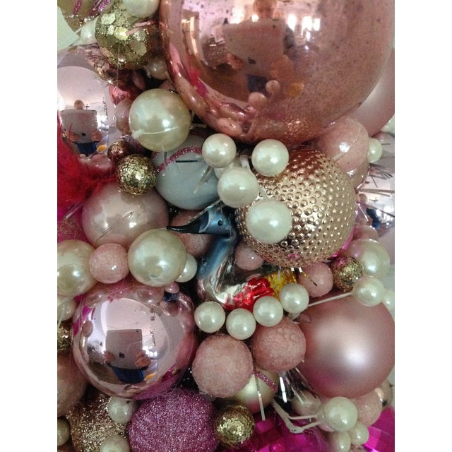 Vintage Pink Pearl Christmas Ornament Topiary Tree - Image 6 of 7