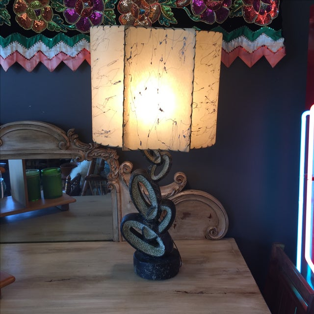 Mid Century Lamp with Fiberglass Shade - Image 2 of 9