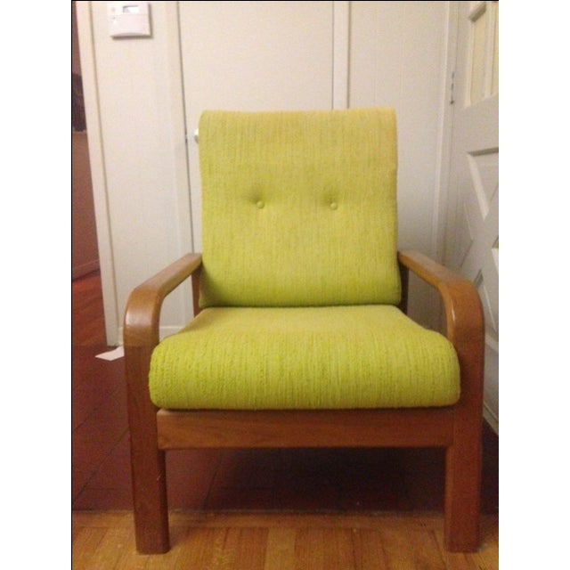 Chartreuse Danish Modern Chair - Image 2 of 3