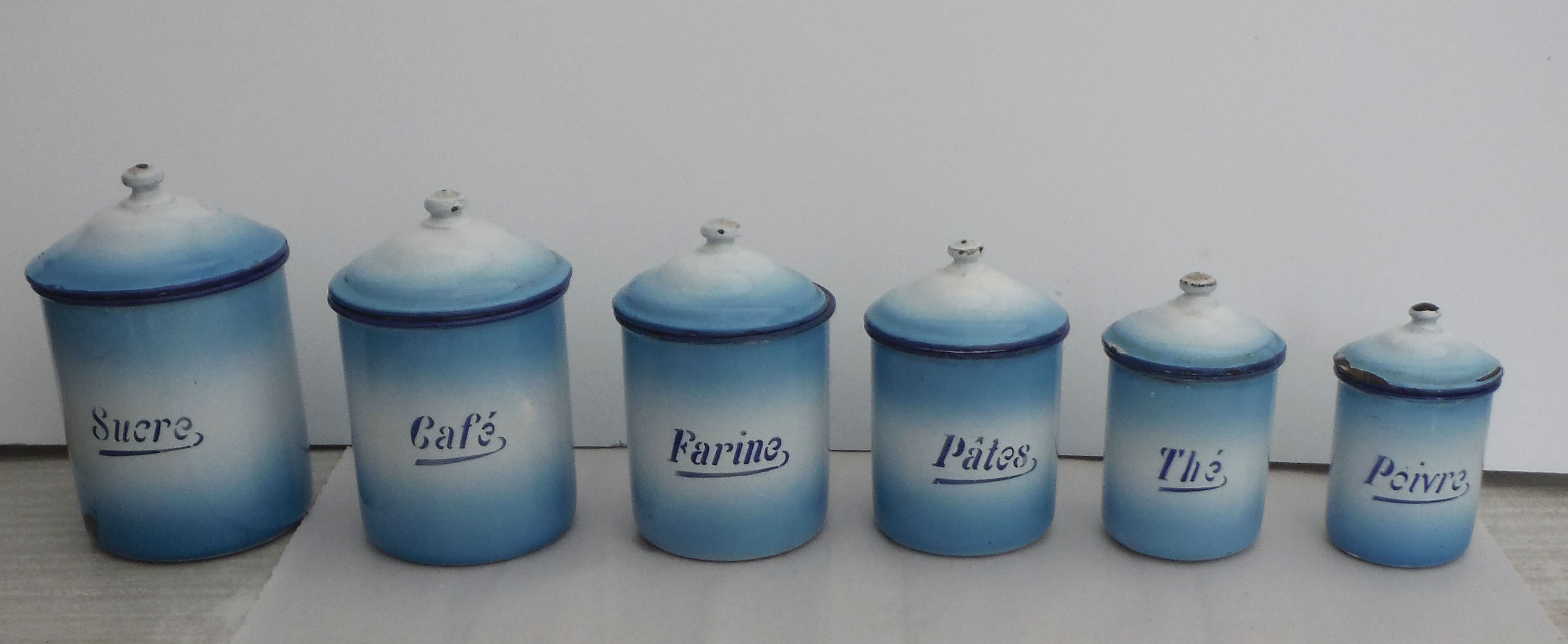 french enamel kitchen canisters set of 6 chairish