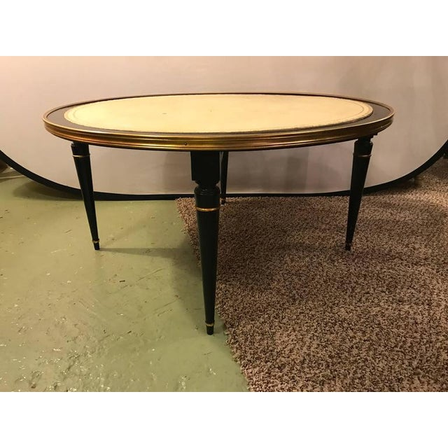 Ebonized hollywood regency coffee cocktail or low table with leather top chairish Coffee table with leather top