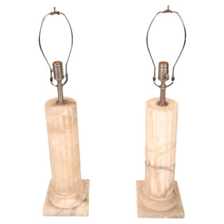 Mid-Century Modern Marble Pedestal Lamps - a Pair
