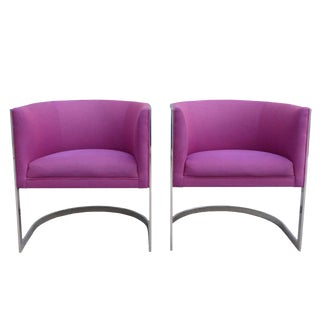 Chrome Cantilever Barrel Chairs - A Pair