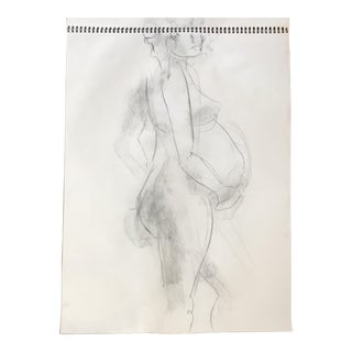 Standing Pregnant Nude Drawing