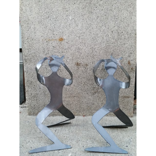 Brutalist Forged Metal Bottle Holders - A Pair - Image 2 of 8
