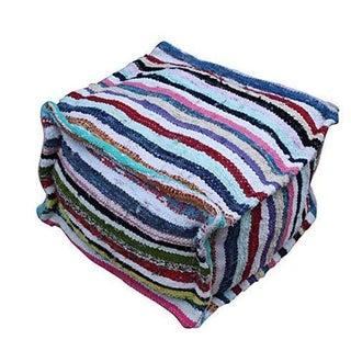 Handmade Moroccan Striped Berber Pouf