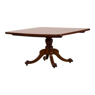 Antique English William IV Square Mahogany Tilt Top Dining Table circa 1835