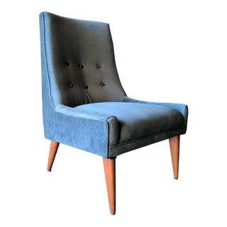 Mid Century High back Slipper Chair in New Velvet Like Fabric