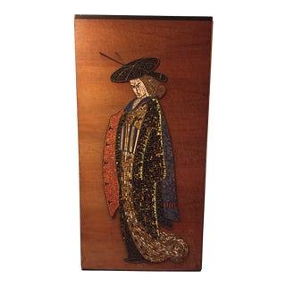 Mid-Century Modern Japanese Samurai Geisha Mosaic Tile Painting