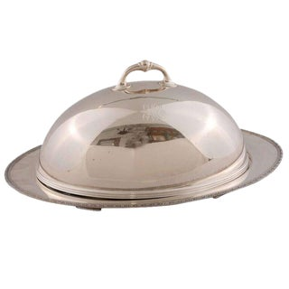 Vintage Silver Plated Meat Dome with Serving Platter