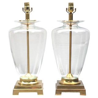Vintage Tyndale Blown Glass & Brass Urn Lamps - A Pair