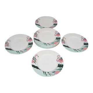 Flamingo Plates - Set of 8