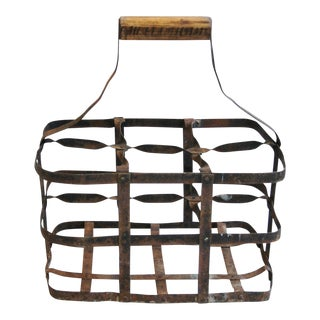 1930s French Metal 6 Bottle Wine Carrier