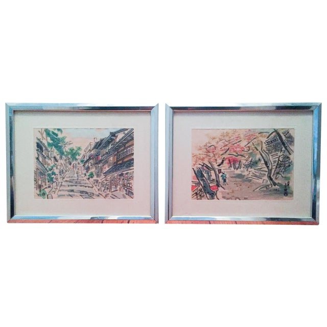 Mid-Century Asian Silk Serigraph Paintings - Pair - Image 1 of 6