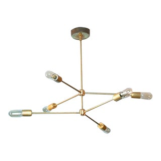 2-Tiered 3-Armed Sputnik Annunciation Chandelier in Raw Brass