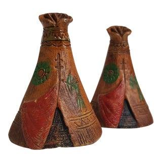 Mid-Century Wooden Teepee Salt & Pepper Shakers