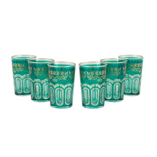 Bahia Green & Gold Tea Glasses - Set of 6