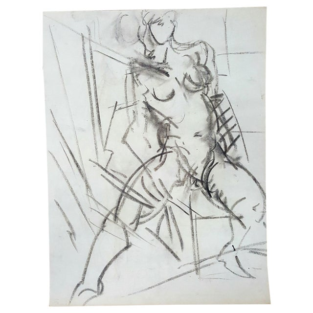 Charcoal Abstract Female Nude Drawing - Image 1 of 3