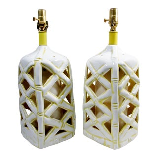 Miami Regency Faux Bamboo Blanc De Chine Lamps- A Pair