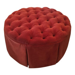 Ballard Designs Tufted Red Velvet Storage Ottoman