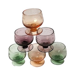 Vintage Multicolor Cordial Glasses - Set of 6
