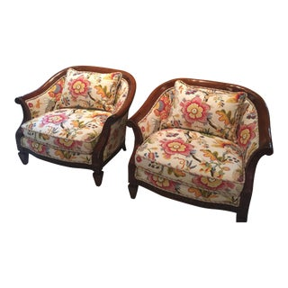 Floral Upholstered Accent Chairs - A Pair