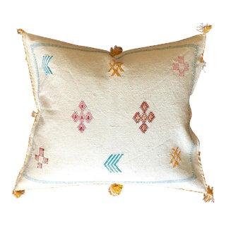 White Moroccan Sabra Cactus Silk Pillow Cover