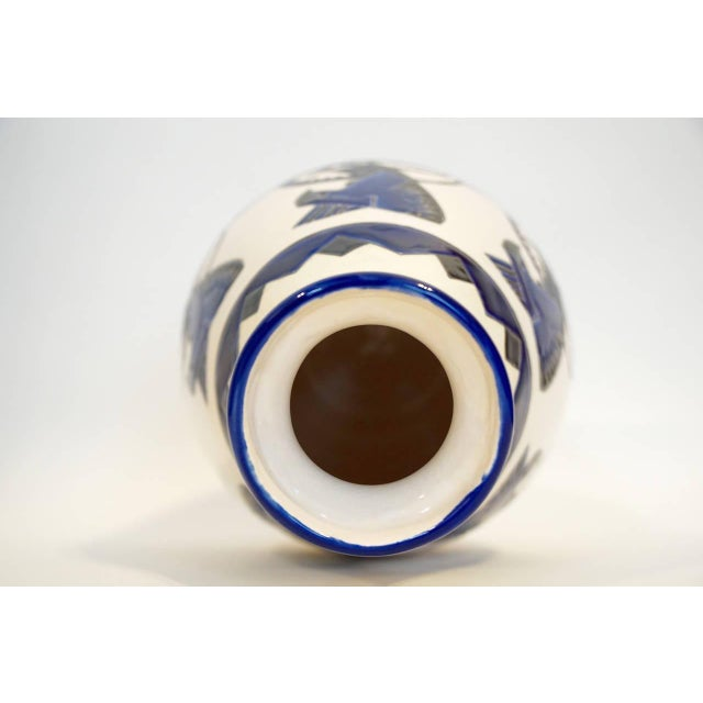 Rare Cobalt and Cream Charles Catteau Vase - Image 3 of 8