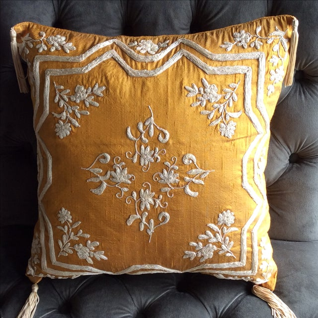 Copper Silk Embroidered Accent Pillow Cover - Image 2 of 5
