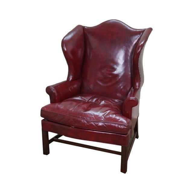 Kittinger Colonial Williamsburg Leather Wing Chair Chairish