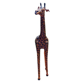 Handmade Paper Mache & Leather Giraffe Figurine