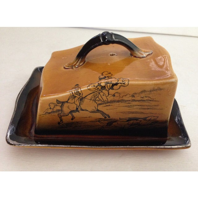 Antique English Huntsman Brown Butter Dish - Image 2 of 9