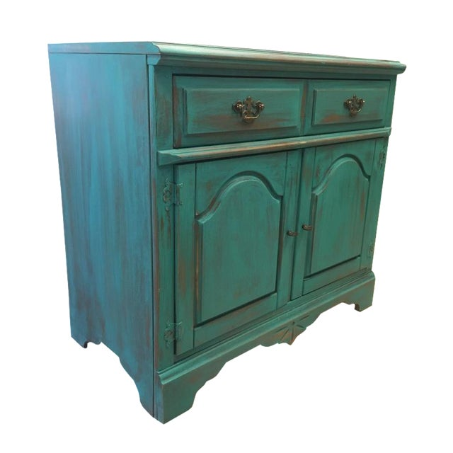 Bassett Distressed Turquoise Sideboard - Image 1 of 4