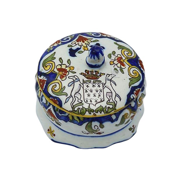 French Faience Crested Trinket Box - Image 1 of 4