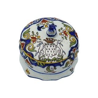 French Faience Crested Trinket Box