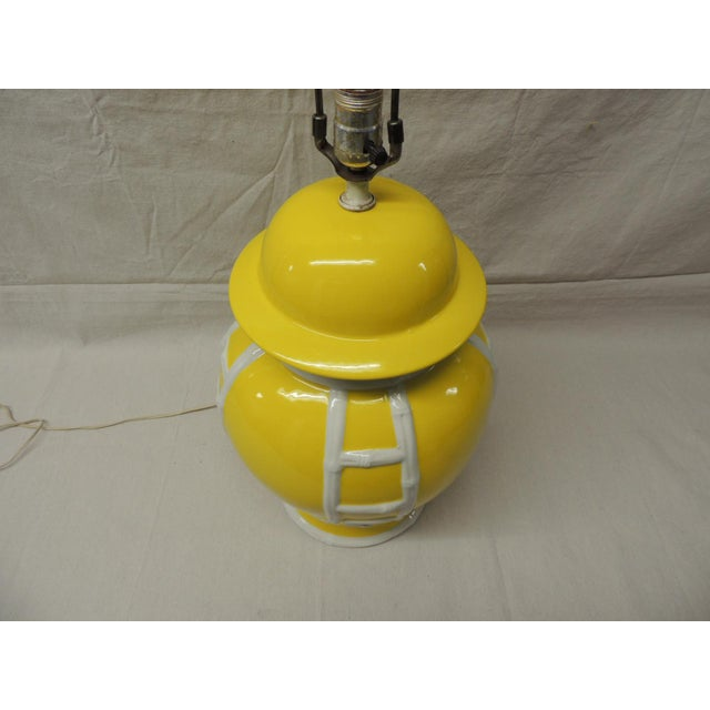 Vintage Yellow & White Ginger Jar Lamp - Image 4 of 4