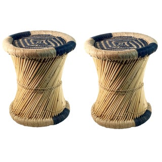 Natural Geo Moray Blue Accent Stools - A Pair