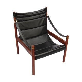 Mid-Century Leather and Teak Safari Sling Chair