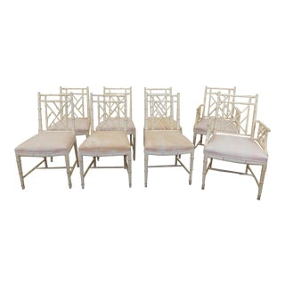 W & J Sloane Furniture Rattan Chippendale Painted Dining Chairs - Set of 8