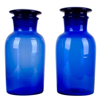 Antique Cobalt Blown Glass Apothecary Jars - A Pair